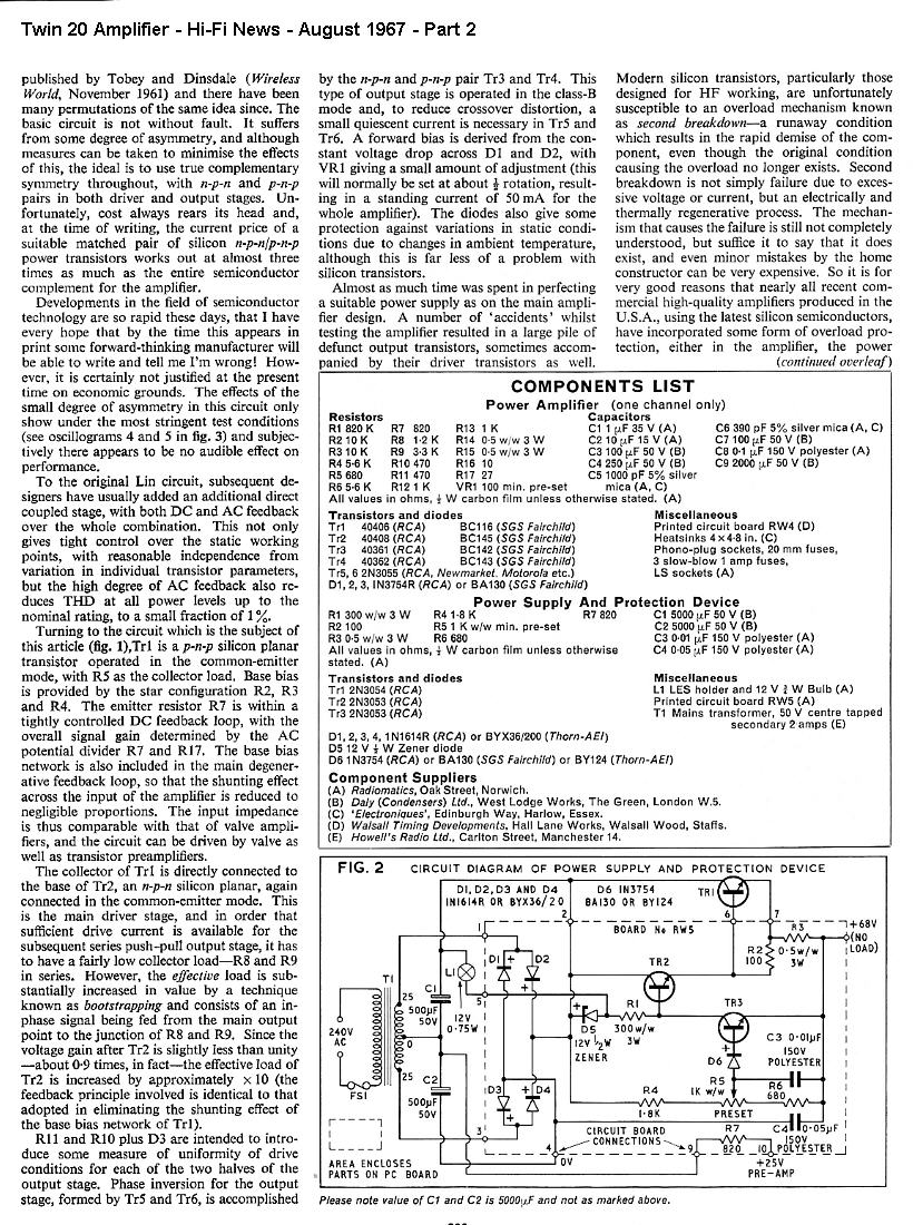 Hi Fi Diy Projects The Original Williamson Hifi Amplifier Schematic As Published In Project Part 2